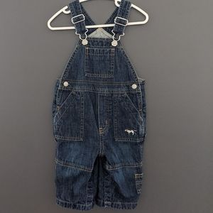 Baby Gap denim overalls with puppy embroidery